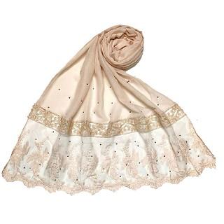 Premium cotton - designer bordered hijab - Pink