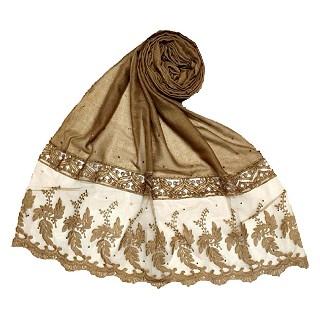 Premium cotton - designer bordered hijab - Brown