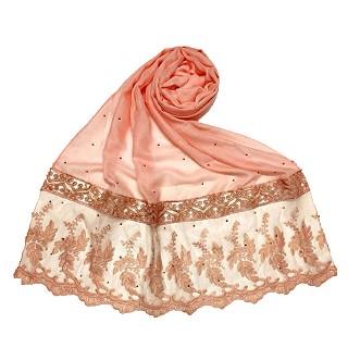 Premium cotton - designer bordered hijab - Orange