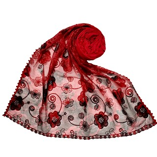 Designer Flower Hijab - Red