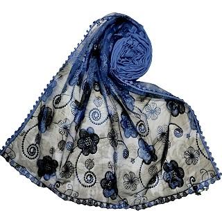 Designer Flower Hijab - Blue