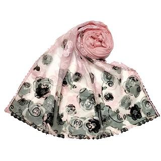 Designer Flower Hijab - Pink