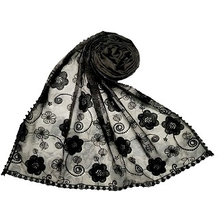 Designer Flower Hijab - Grey