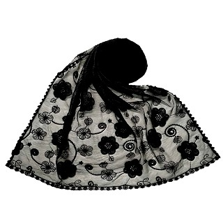 Women Designer Flower Hijab -Black