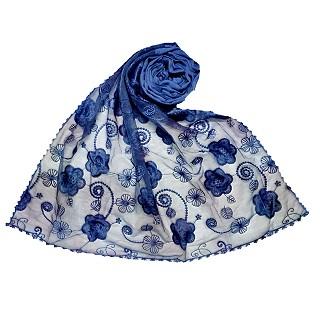 Women Designer Flower Hijab -Blue