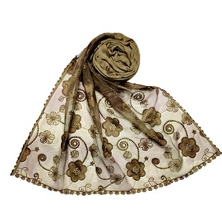 Women Designer Flower Hijab -Light Brown