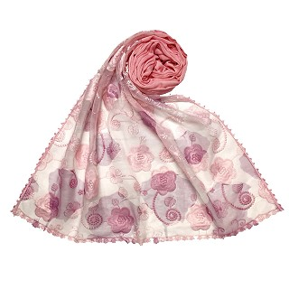Women Designer Flower Hijab -Pink