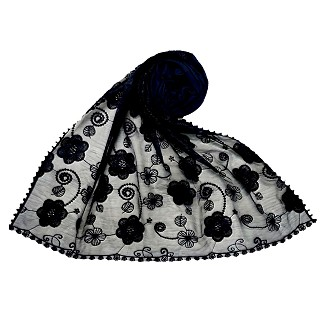 Women Designer Flower Hijab -Dark blue
