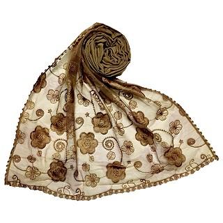 Women Designer Flower Hijab - Brown