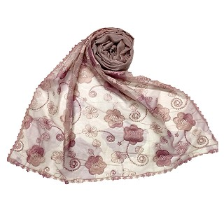 Women Designer Flower Hijab - Purple