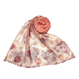 Women Designer Flower Hijab -Orange