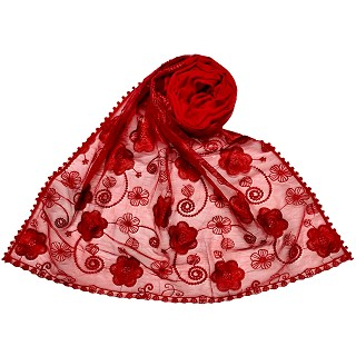 Women Designer Flower Hijab -Red