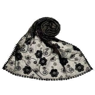 Women Designer Flower Hijab -Grey