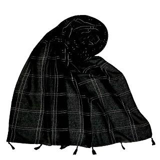 Designer Hand Work White Threaded Square Grid Hijab - Black