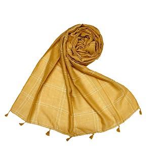Designer hand work white threaded square grid hijab- Yellow