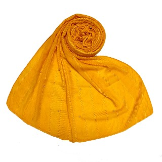 Designer diamond studded  hijab- Yellow