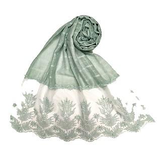 Designer square shaped with flowery net diamond hijab- Blurry green