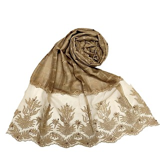 Designer square shaped with flowery net diamond hijab- Brown