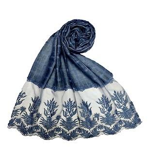 Designer square shaped with flowery net diamond hijab- Blue