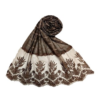 Designer square shaped with flowery net diamond hijab- Coffee brown