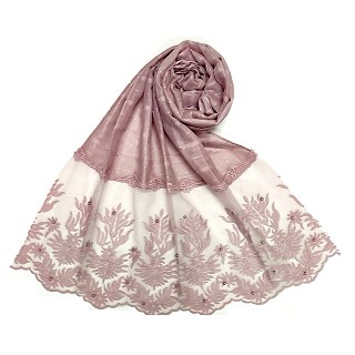 Designer square shaped with flowery net diamond hijab- Blurry pink