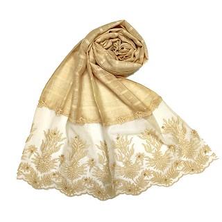 Designer square shaped with flowery net diamond hijab- Cream