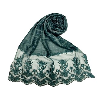 Designer square shaped with flowery net diamond hijab- Dark green