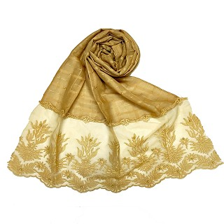Designer square shaped with flowery net diamond hijab- Yellow