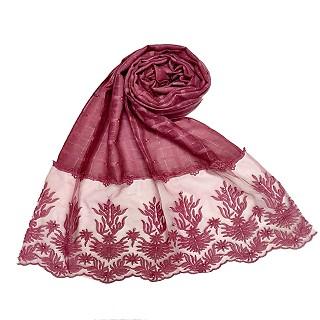 Designer square shaped with flowery net diamond hijab- Purple