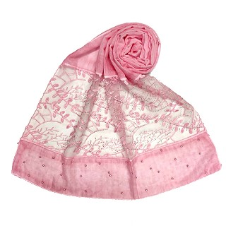 Premium cotton designer diamond and pearl studded  hijab- Pink