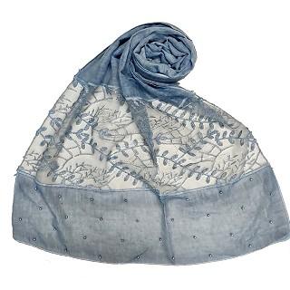 Premium cotton designer diamond and pearl studded  hijab- Blue