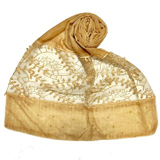Premium cotton designer diamond and pearl studded  hijab- Yellow