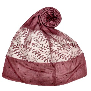 Premium cotton designer diamond and pearl studded  hijab- Chocolate Purple