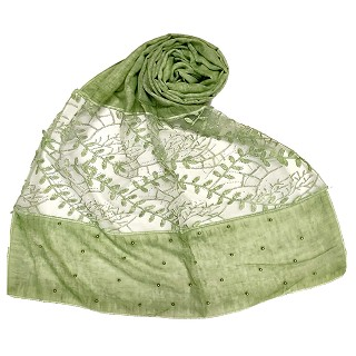 Premium cotton designer diamond and pearl studded  hijab- Green