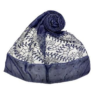 Premium cotton designer diamond and pearl studded  hijab- Dark blue