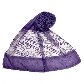 Premium cotton designer diamond and pearl studded  hijab- Purple