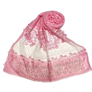 Designer diamond studded hijab with fringe's hijab- Pink