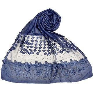 Designer diamond studded hijab with fringe's hijab- Blue