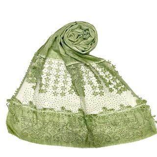 Designer diamond studded hijab with fringe's hijab- Green