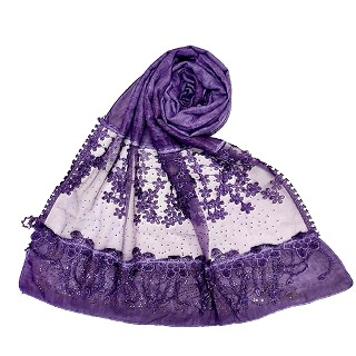 Designer diamond studded hijab with fringe's hijab- Purple