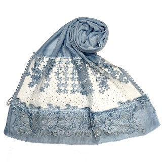 Designer diamond studded hijab with fringe's hijab- Light blue