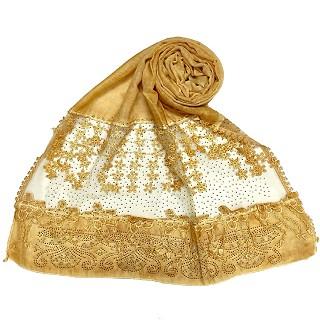 Designer diamond studded hijab with fringe's hijab- Yellow
