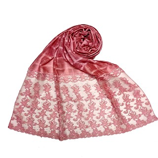 Designer trendy cotton diamond studded stole - Pink