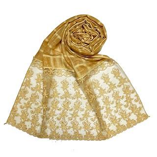 Designer trendy cotton diamond studded stole- Yellow