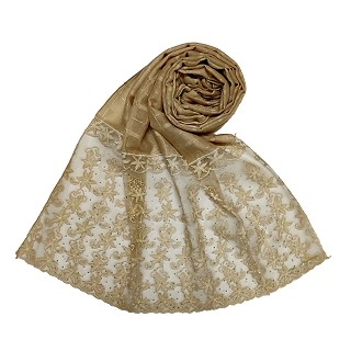 Designer trendy cotton diamond studded stole- Brown