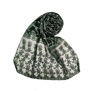 Designer trendy cotton diamond studded stole- Dark green