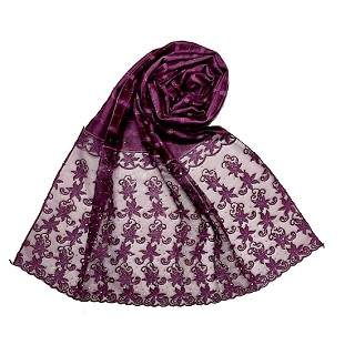 Designer trendy cotton diamond studded stole- Purple