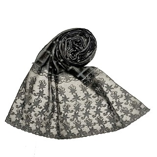 Designer trendy cotton diamond studded stole- Black