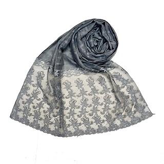 Designer trendy cotton diamond studded stole- Blue