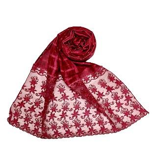 Designer trendy cotton diamond studded stole- Maroon